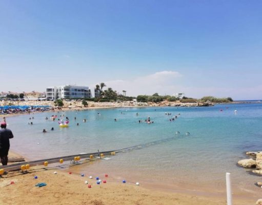 Sea track facilities for disabled installed at two Paralimni beaches