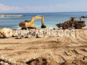Crews cleaning up at Kalamies beach after rain, illegal interventions  (photos, video)