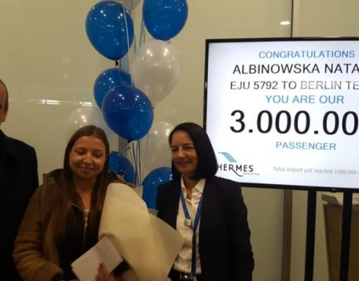 Paphos Airport welcomes three millionth passenger