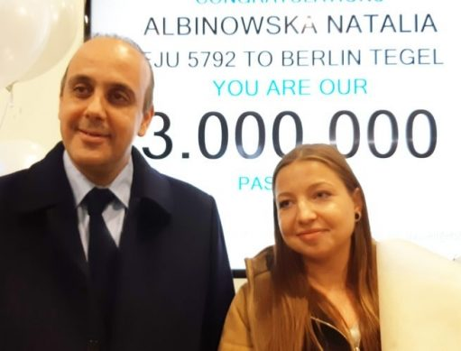 Memorable departure for Polish tourist who registered as three millionth passenger at Paphos