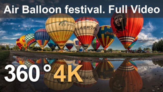 360°, The Golden Ring of Russia Air-Balloon Festival. 4К aerial video