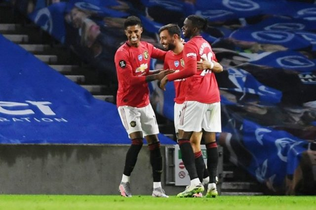 Fernandes scores twice as Man United cruise past Brighton