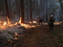 Crews battle wildfires in US West as smoke travels the world