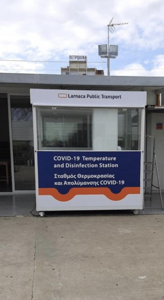 Coronavirus: Disinfection cabin for Larnaca bus passengers